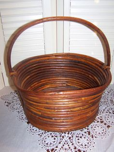 Bamboo rattan Vintage basket with handle by mypicketfencecottage, $12.99