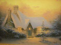 Thomas Kinkade Christmas Tree Cottage (12 x 16 SN)