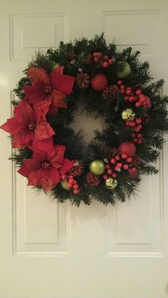 Christmas Poinsettia Ornament Wreath