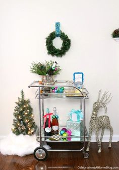girls night in Christmas party _bar cart