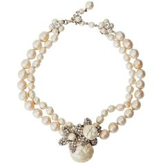 Preowned Miriam Haskell Classic Freshwater Baroque Pearl Necklace (19.434.340 IDR) ❤ liked on Polyvore featuring jewelry, necklaces, beige, miriam haskell necklace, pre owned jewelry, flower chain necklace, strand necklace and chains jewelry