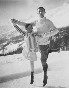(1924; Chamonix, France) Figure skaters Sonja Henie, 11, of Norway and Gilles Grafstrom of Sweden pose at the Olympic Games. Henie placed eighth of eight in the ladies singles.  Grafstrom won the Olympic gold medal in the men's singles.