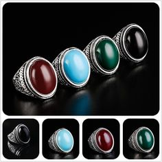 Fashion Men's Vintage Gothic Antique Silver Oval Obsidian Charm Rings Jewelry