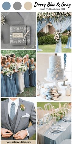Best 8 March Wedding Color Palettes for 2021 Dusty Blue + Gray Wedding: duty blue bridesmaids dresses, cake, table cloth, grey groom's attire and invitations. March Wedding Colors, Grey Wedding Theme, Gray Wedding Colors, Wedding Color Schemes, Wedding Themes, Dream Wedding, Wedding Day, Spring Wedding, Wedding Programs