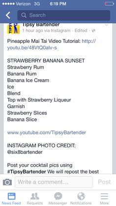Strawberry Banana Sunset. Tipsy bartender
