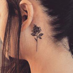 Rose tattoo behind ear, rose neck tattoo, life tattoos, gun tattoos, body. Cute Tattoos, Unique Tattoos, Beautiful Tattoos, Flower Tattoos, Body Art Tattoos, Small Tattoos, Girl Tattoos, Ship Tattoos, Bear Tattoos