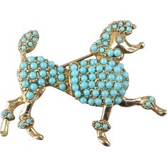 Vintage French Poodle Pin Groomed w/ Turquoise Glass Stones