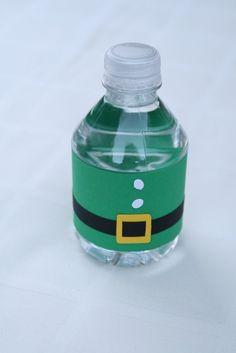 elf water bottle label. cute idea for a christmas party! http://www.bottleyourbrand.com/water-bottle-labels