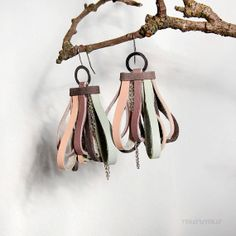 Fashion urban casual earrings. Shine sparkling color combination. Dark gray, light mint, pale purple/ lilac/ and light salmon rose recycled