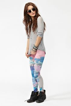 Mapped Leggings in Silver. I think I could buy everything at Nasty Gal.