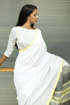 This saree features tones of white, grey & a hint of yellow yarns. The weave structures are of overshot variations with complimenting all traditional weaves Indian Attire, Indian Ethnic Wear, Ethnic Style, Indian Blouse, Indian Sarees, Ethnic Fashion, Asian Fashion, Indian Dresses, Indian Outfits