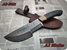 DAMASCUS STEEL CUSTOM HANDMADE TRACKER KNIFE,MICARTA,BURL HANDEL.A2-502T