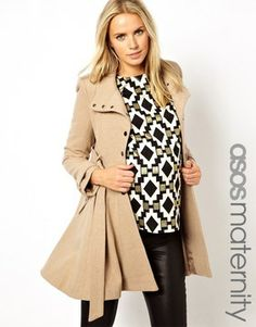 ASOS Maternity Fit and Flare Coat with Popper Front on shopstyle.com