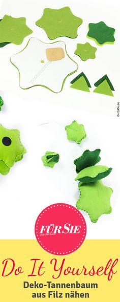 Hier findest Du unsere kostenlose Nähanleitung für einen dekorativen Filz-Tannenbaum. Die Schritt-für-Schritt-Anleitung ist auch für Nähanfänger geeignet.