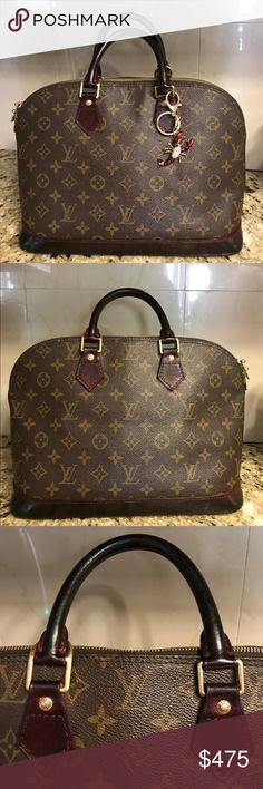 💕 100% Authentic Louis Vuitton Alma PM Burgundy 💞Painted burgundy and sealed with high gloss acrylic. Tarnished hardware but well cleaned. Comes with a gorgeous charm. 🦂Clean inside. Depending on your level on sensitivity you might smell odor. If you need additional photos,I will provide. One scuff corner. In a good condition but overall sense of use. Dimensions:12x6x9. Sorry but No Trades💓 Louis Vuitton Bags Satchels