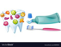 Tooth with bacteria and cleaning set Royalty Free Vector Firefighter Clipart, Nurse Teaching, Implant Dentist, Dental Kids, Brush My Teeth, Health Activities, Stone Crafts, Microbiology, Learning Tools
