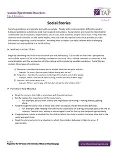 TAP Tip Sheet - Social stories by The Hope Institute  via slideshare