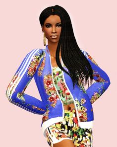 Sabina Calixto... Credits:  Hair - Rowansims recolour by me Earings - Simsurbania Clotes - Always Sims Jacket; Anitka top; Always Sims bottom Skintone - Shizeve Eyes - Cruzy@SiUGS