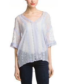 Rue La La — ZOA Ice Blue Embroidered Silk Oversized Tunic Top