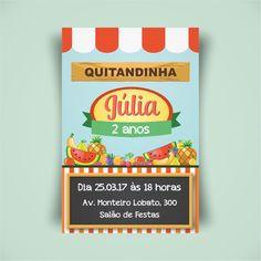 Arte digital para convite, tema quitanda. Créditos: Frutas do site br.freepik.com