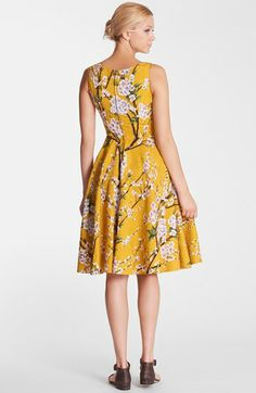 Love the mustard color and cherry blossoms. Dolce&Gabbana Floral Print Full Skirt Dress | Nordstrom
