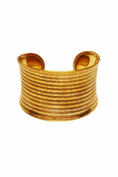 Embossed wavy lines, reminiscent of the desert, decorate this golden cuff. Wear with the other cuffs from this collection for advanced style. One size fits most, base is adjustable.   Seville Cuff by Made It!. Accessories - Jewelry - Bracelets New Jersey
