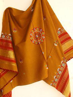 Brownish Yellow, Mustard Yellow, Kutch Work, Hand Work Blouse Design, Designs For Dresses, Silk Dupatta, Hand Embroidery Designs, Blouse Designs, Shawl