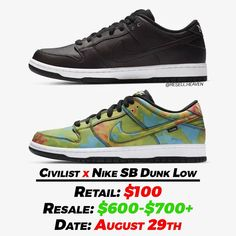 "Gefällt 508 Mal, 8 Kommentare - News, Leaks and Predictions (@resell.heaven) auf Instagram: ""The Civilist x Nike SB Dunk Lows are scheduled to drop on Saturday, August 29th. 🔥 They will be…"" Shoe Releases, Dunk Low, Nike Sb Dunks, Heaven, Drop, News, Sneakers, Shoes, Instagram"
