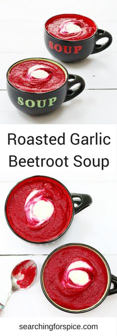 Recipe for smooth roasted garlic and beetroot soup. Perfect as a healthy vegetarian main meal or appetiser #soup #beetroot #onepotmeals
