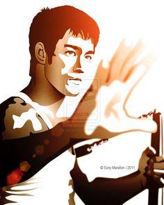 bruce lee by Bruce Lee Art, Bruce Lee Martial Arts, Bruce Lee Quotes, Saint Yves, Legendary Dragons, Jeet Kune Do, Enter The Dragon, Little Dragon, Martial Artist