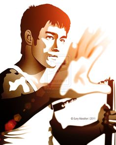 Bruce Lee art.  From: http://fc01.deviantart.net/fs71/i/2011/180/0/e/bruce_lee_by_eunymm-d3kfn3a.jpg