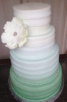 Mint Green Layers Gumpaste Flower Wedding Cake