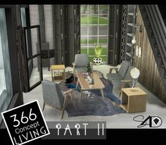 Sims 4: 366 Concept Living Part II (new mesh) | Sims 4 Designs