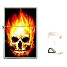 Flip Top Lighter INFERNO Design Wick Fluid Function