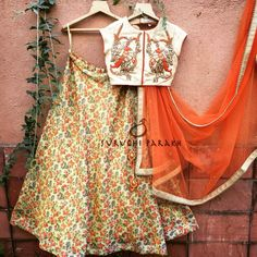 Earthly colors have such soothing appeal! This lovely lehenga with floral skirt and birds embroidered very intricately on the blouse is inspired by all natural elements! Grab this beautiful piece to make a very unique statement! For enquiry mail us at suruchiparakh@gmail.com 13 January 2017