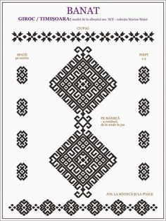 Semne Cusute: ie de BANAT - Timisoara, Giroc Cross Stitch Borders, Cross Stitch Designs, Cross Stitching, Cross Stitch Patterns, Embroidery Motifs, Embroidery Designs, Russian Cross Stitch, Wedding Album Design, Embroidery On Clothes