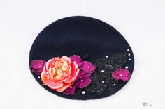 Flower French Beret Hat Crystal Lace Floral by ElvenDesignArt, $110.00
