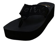 1729ad1b5e008 Yellow Box Womens Edeva Metallic Glitter Platform Wedge Flip Flop Sandal85  BM USBlack   You can