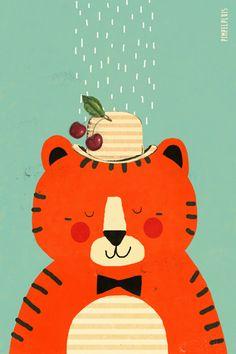 Tijger print - Pimpelpluis - https://www.facebook.com/pages/Pimpelpluis/188675421305550?ref=hl - (nursery print illustration kids children tiger art poster dieren kinderen cute illustratie animal retro)