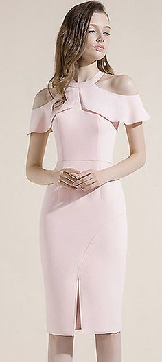 Party Simple Pure Color Off-The-Shoulder Bodycon Dress