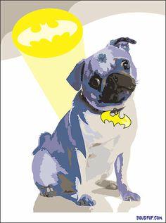 Batdog - Pug by Douglas Carl Wright, dougpop.com