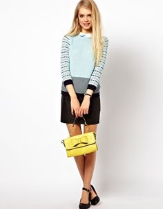 Enlarge ASOS Striped Collared Sweater