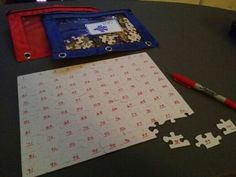 Using this Pinterest idea for my math center. Great tool for learning 1-100. Puzzles were $1 at the dollar store.