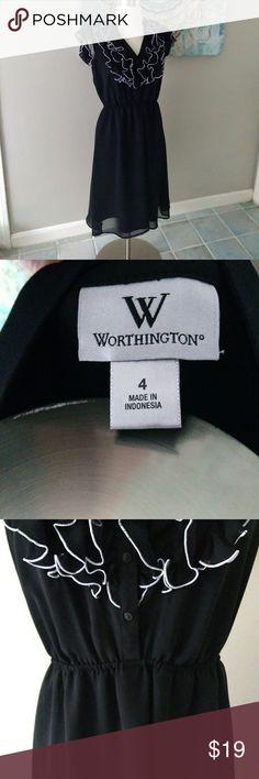 LBD Knee Length Black Dress with Ruffle Knee Length LBD W/ Ruffle detail Worthington Dresses Midi