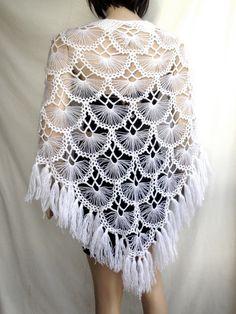 Items similar to White Wedding Shawl / Crochet Shawl / Bridal Shawl / Bridal Shrug / Winter Wedding / Bridal Bolero / Bridal Cover Up / Winter Accessories on Etsy Tesettür Eşarp Modelleri 2020 Crochet Shawls And Wraps, Crochet Scarves, Mode Crochet, Knit Crochet, Crochet Designs, Crochet Patterns, Hairpin Lace Crochet, Bridal Shrug, Bridal Cover Up