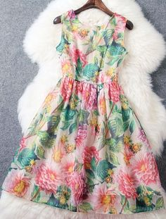 Printed Slim sleeveless vest dress