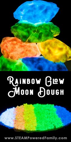 Using our new Moon Dough recipe, just add Glow Power to create a vibrant, sensory, glow experience in a rainbow of glowing colours. Playdough Activities, Fun Activities For Kids, Planets Activities, Rainbow Activities, Science Activities, Sensory Wall, Sensory Boards, Moon Dough Recipes, Projects For Kids