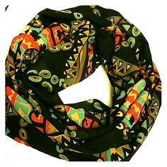 Infinity chiffon tribal scarf Light weigh. navy blue with a beautiful colorful tribal print home made  Accessories Scarves & Wraps