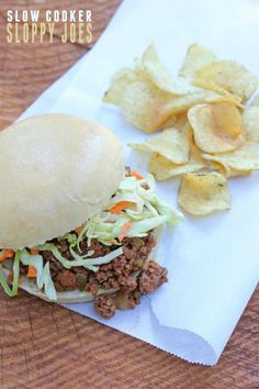 Slow Cooker Sloppy Joes -- Perfect recipe for a hot or busy day. Just brown the meat and throw it in the crock pot. Not super sweet. Includes a Bobby Flay coleslaw recipe! Sloppy Joe Recipe Slow Cooker, Sloppy Joes Recipe, Slow Cooker Recipes, Crockpot Recipes, Jar Recipes, Crockpot Dishes, Beef Dishes, Pasta Recipes, Dessert Recipes