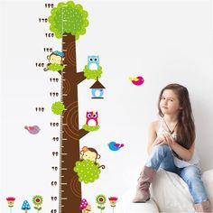 owls monkey birds flower tree growth chart wall decals for kids room decorative stickers cartoon animal mural art height measure